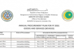 ANNUAL PROCUREMENT PLAN FOR FY 2021 – GOODS AND SERVICES (REVISED)